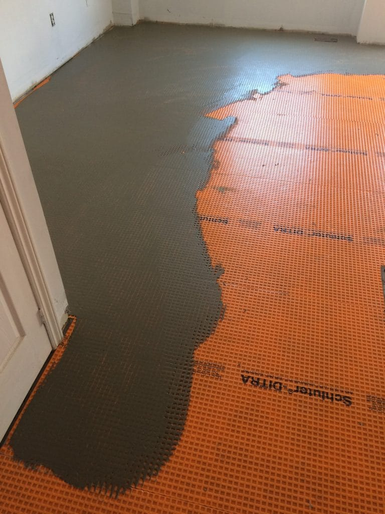 preparing tile floor installation