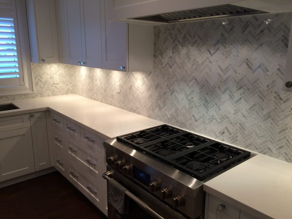 Herringbone Backsplash kitchen tile installation